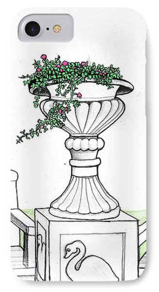IPhone Case featuring the drawing Foliage Fountain by Mary Ellen Frazee
