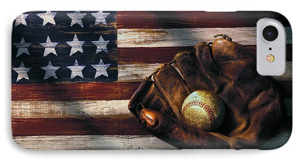 Folk Art American Flag And Baseball Mitt IPhone 7 Case by Garry Gay