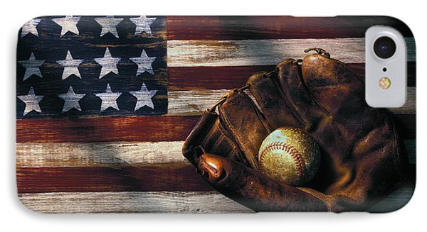 Folk Art American Flag And Baseball Mitt Phone Case by Garry Gay