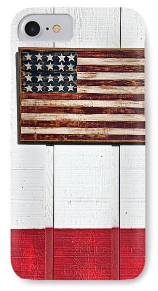 Folk Art American Flag On Wooden Wall IPhone Case by Garry Gay