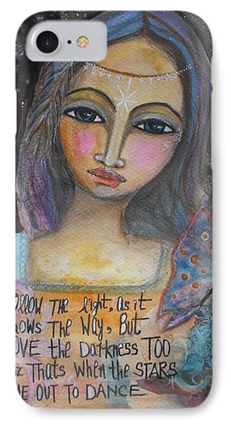 IPhone Case featuring the painting Follow The Light by Prerna Poojara