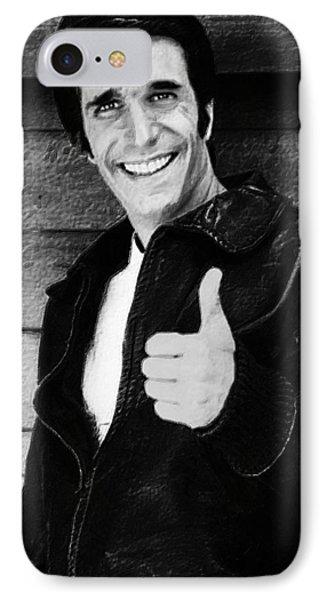 Fonzie Happy Days Black And White Painting IPhone Case by Tony Rubino