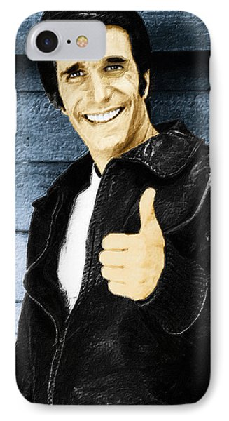 Fonzie Happy Days Painting IPhone Case by Tony Rubino