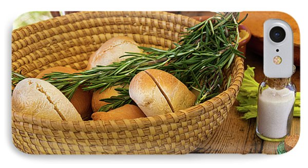 Food - Bread - Rolls And Rosemary IPhone Case by Mike Savad