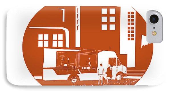 Food Truck City Buildings Oval Woodcut IPhone Case by Aloysius Patrimonio