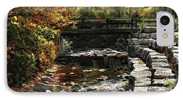 IPhone Case featuring the photograph Foot Bridge In Autumn by Elaine Manley