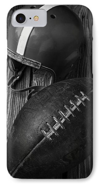 Football And Helmet In Black And White IPhone Case by Garry Gay