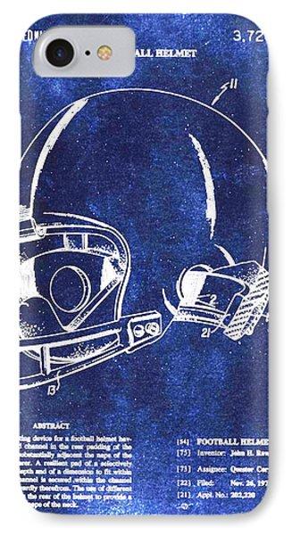 Football Helmet Patent Blueprint Drawing IPhone Case by Tony Rubino