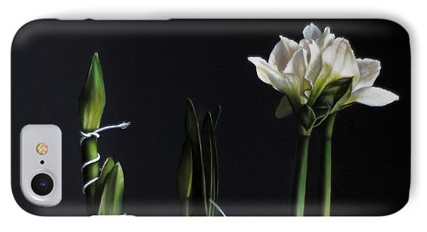 Forcing Amaryllis IPhone Case by Larry Preston