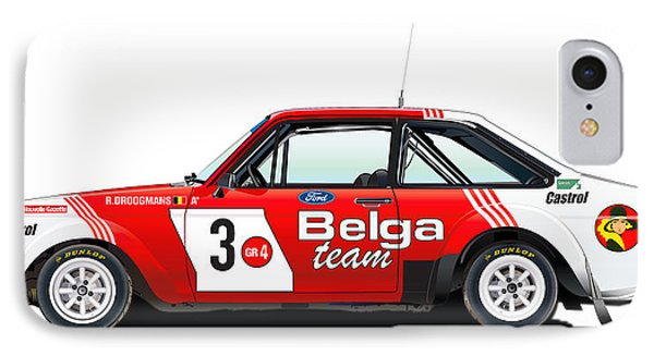 Ford Escort Rs Belga Team Illustration IPhone Case by Alain Jamar