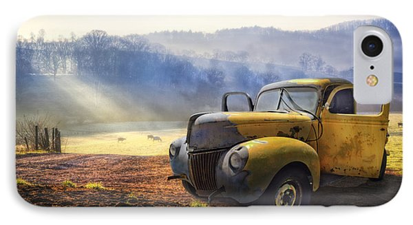 Car iPhone 7 Case - Ford In The Fog by Debra and Dave Vanderlaan
