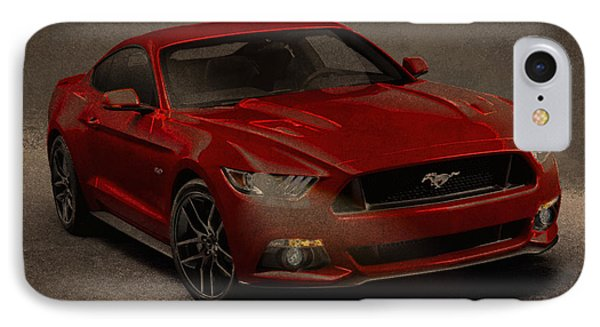Ford Mustang 2015 Watercolor Pencil Charcoal Sketch On Worn Distressed Canvas IPhone Case by Design Turnpike