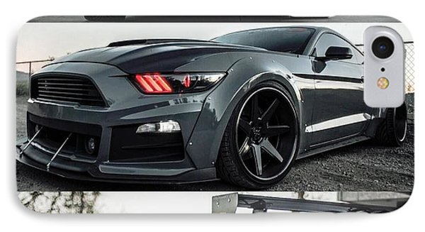 IPhone Case featuring the photograph  Ford Mustang Badass Widebody Muscle Car by Sheila Mcdonald