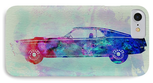 Ford Mustang Watercolor 1 IPhone Case by Naxart Studio