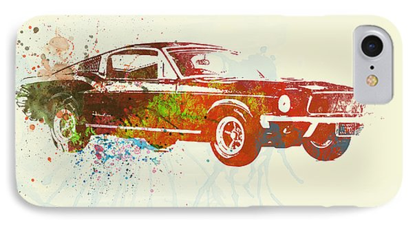 Ford Mustang Watercolor IPhone Case by Naxart Studio