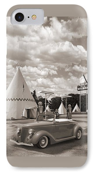 Ford Roadster At An Indian Gas Station Sepia IPhone Case by Mike McGlothlen