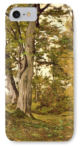 Forest At Fontainebleau IPhone Case by Henri-Joseph Harpignies