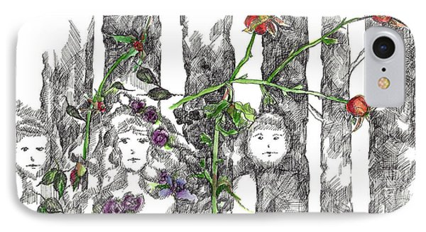 IPhone Case featuring the drawing Forest Faces by Cathie Richardson