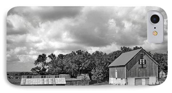 Forest For The Trees - Quilt Barn - Nebraska IPhone Case by Nikolyn McDonaldFarm Scene - Barns - Nebraska - BW