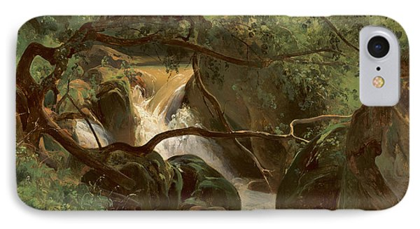 Forest Interior With A Waterfall Papigno IPhone Case
