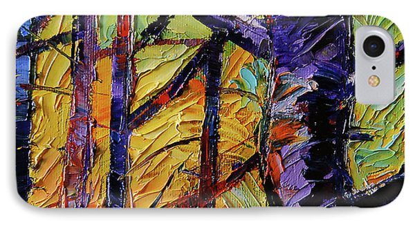 Forest Layers 2 - Modern Impressionist Palette Knives Oil Painting IPhone Case by Mona Edulesco