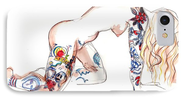 IPhone Case featuring the mixed media Forever Amber - Tattoed Nude by Carolyn Weltman