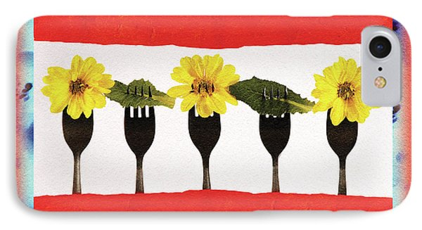 IPhone Case featuring the digital art Forks And Flowers by Paula Ayers