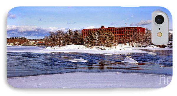 Fort Andross Mill And Androscoggin River In Winter  IPhone Case by Olivier Le Queinec