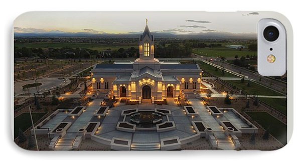 Fort Collins Glow    Lds Temple IPhone Case by David Zinkand