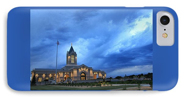 Fort Collins Lds Temple Blue Clouds IPhone Case by David Zinkand