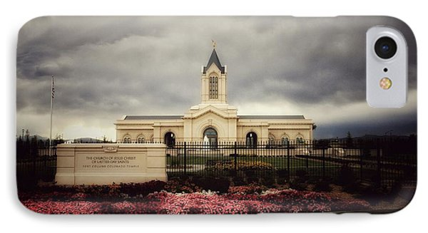 Fort Collins Lds Temple East Side IPhone Case by David Zinkand