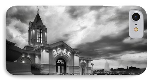 Fort Collins Lds Temple Se Corner Bw IPhone Case by David Zinkand