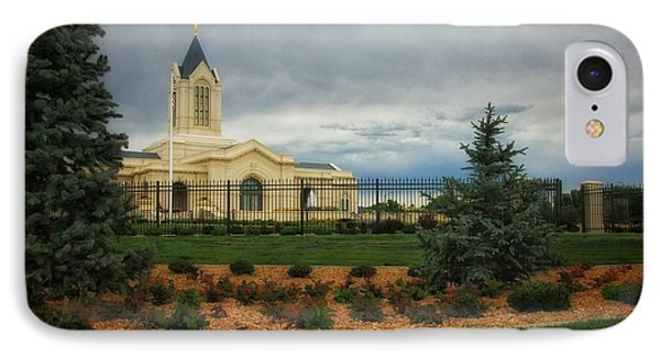 Fort Collins Lds Temple Se Landscape Side IPhone Case by David Zinkand
