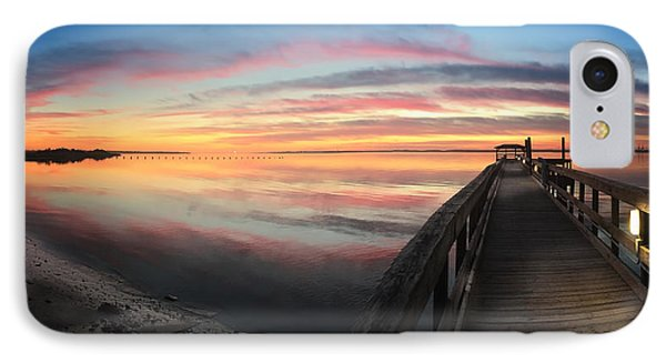 Fort Fisher Sunset Reverie With Heron IPhone Case