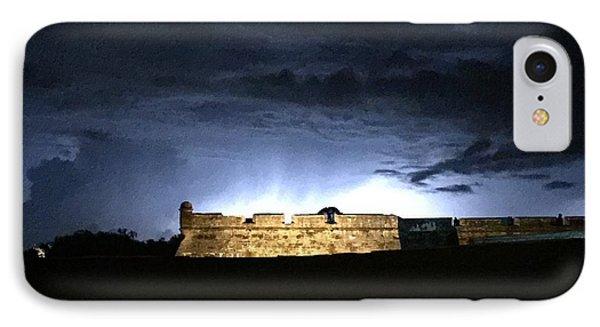 Lightening At Castillo De San Marco IPhone Case by LeeAnn Kendall