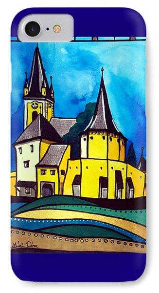 IPhone Case featuring the painting Fortified Medieval Church In Transylvania By Dora Hathazi Mendes by Dora Hathazi Mendes