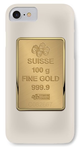 Fortuna Suisse Minted Gold Bar - Reverse IPhone Case