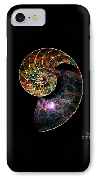 IPhone Case featuring the digital art Fossilized Nautilus Shell by Klara Acel