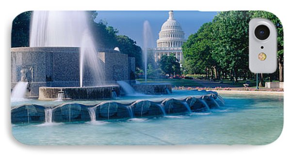 Fountain And Us Capitol Building IPhone Case by Panoramic Images