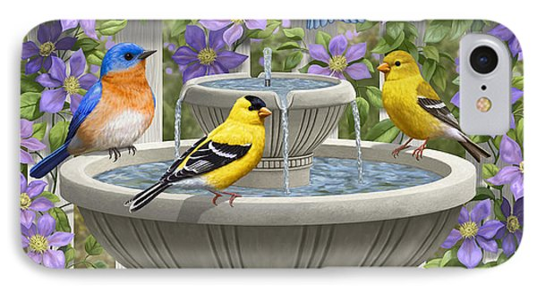 Fountain Festivities - Birds And Birdbath Painting IPhone 7 Case by Crista Forest