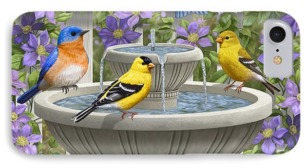 Fountain Festivities - Birds And Birdbath Painting IPhone Case by Crista Forest