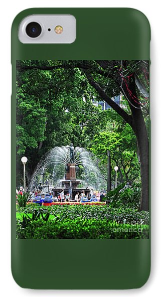 IPhone Case featuring the photograph Fountain Through The Trees By Kaye Menner by Kaye Menner