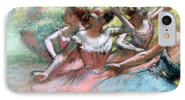 Four Ballerinas On The Stage IPhone Case by Edgar Degas