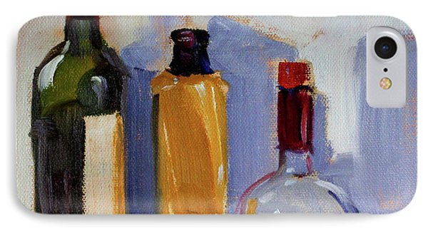 IPhone Case featuring the painting Four Bottles by Nancy Merkle