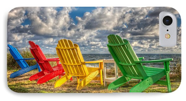 Four Chairs At The Beach IPhone Case by Debra and Dave Vanderlaan