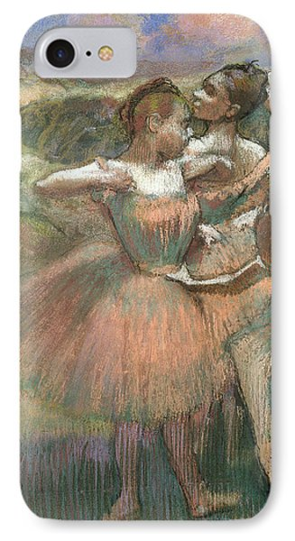 Four Dancers On Stage IPhone Case by Edgar Degas