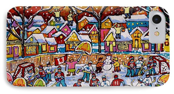 Four Fiddlers On The Roof Tops Hockey Art Snowy Winter Wonderland Skaters Skiers Sleds Umbrellas  IPhone Case by Carole Spandau