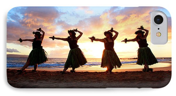 Four Hula Dancers At Sunset IPhone Case