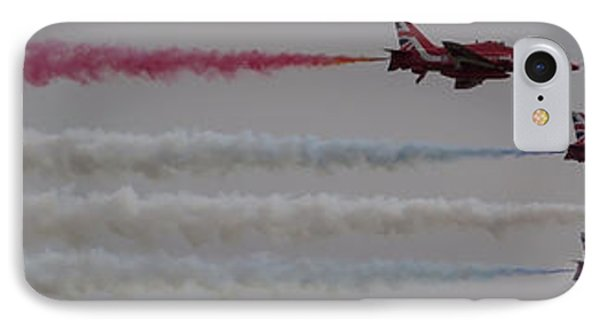 IPhone Case featuring the photograph Four Red Arrows Smoke Trail - Teesside Airshow 2016 by Scott Lyons