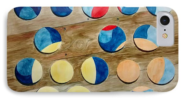 Four Rows Of Circles On Wood IPhone Case by Andrew Gillette